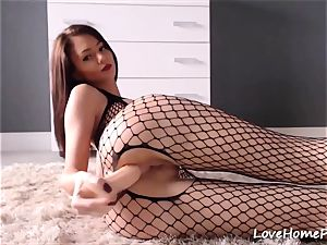 full body Fishnet pantyhose On A nasty brown-haired