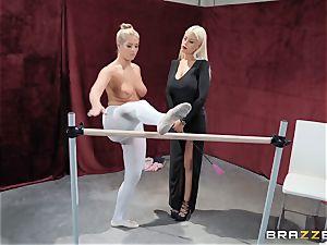lesbos Bridgette B and Val Dodds intense vag slurping after ballet