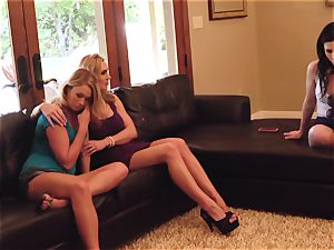 SEXYMOMMA - torrid mother pulverizes and shoots a load with two honeys