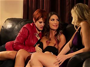 August Ames and Lily Cade strap on bed romp
