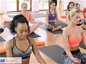 FitnessRooms group yoga session completes with a internal cumshot