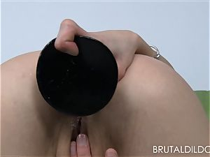 diminutive light-haired Holly Hanna gapes her caboose with meaty fake penises