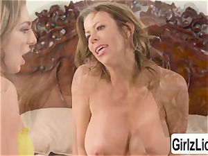 Tiffany Watson and big-titted Alexis Fawx jacks their cunts and spills
