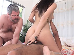 Audrey Royal and spouse love thick black schlong inwards Her