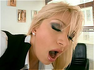 nasty boss Lea wants her bum wedged with black dong
