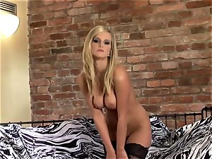 softcore stunner in stockings undies and stilettoes