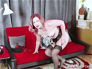 red-hot babe peels off black lingerie wanks in nylon garter