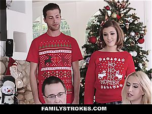Stepsister can't stop fondling her brutha during Christmas image session