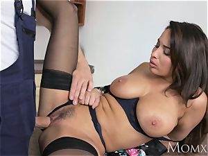 mummy French black-haired Anissa Kate romps the plumber