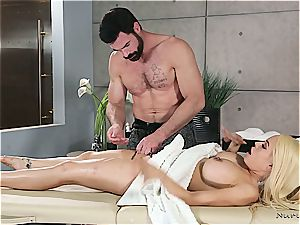 Married blonde hotty getting nasty by a beefy masseur