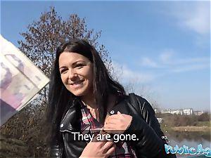 Public Agent Russian waitress plowed outside in public