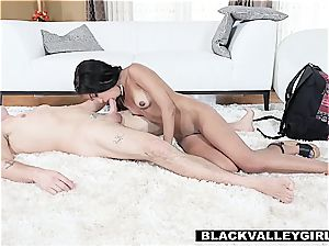 plowing a lil' ebony's sensitive vag while girlfriend is out