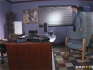 Eva Angelina gets her bosses large wood across her desk