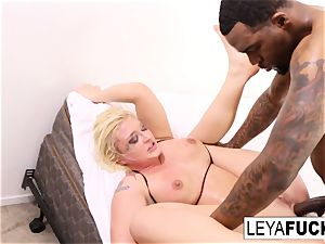 Leya gets a large black bone in her booty