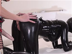 stringent housewife with large beef whistle drills her subordinated latex Lucy