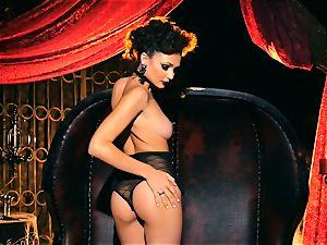 slender small Ariana Marie marvelous rubber solo masturbation