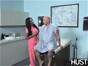 Latina nurse Sadie Santana gets both fuck-holes stretched