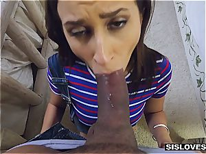 Open minded stepsister Ashley lets her step-brother play with her toys and bootie