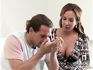 horny mommy Richelle Ryan smashes her sons friend in the kitchen