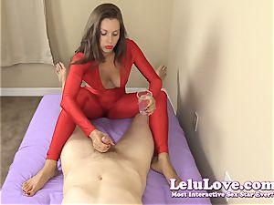 clad woman gives you handjob and footjob