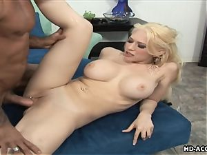 Smoking steamy blondie with phat melons gets smashed firm