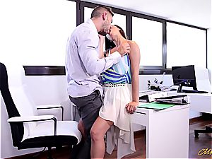 gorgeous Latina babe gets jizm on her baps at the office
