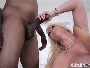 interracial fuckbox tucked Alura Jenson with giant black meatpipe