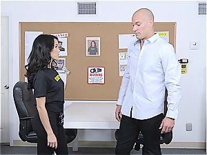 diminutive bouncer Megan Rain studies client's trousers for concealed weapon