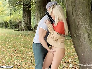 mischievous hook-up in the forest without undressing