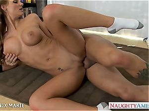 Pretty Phoenix Marie has a smooth-shaven vagina well-prepped for enjoy