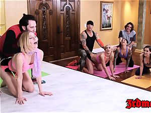 saucy yoga lovelies wedged hard in cum degustating fuck-a-thon
