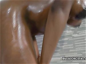 huge-chested black sweetie Lola lubricated to inhale knob