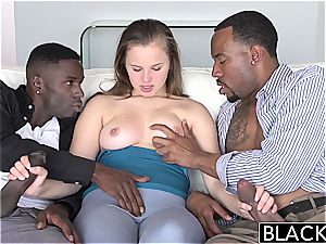 Jillian Janson bounces up and down on ebony man sausage
