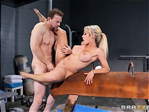 Capri Cavanni ends her workout with some ample manhood