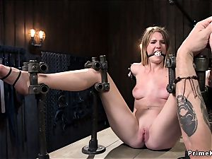 slender blond in various bondages tormented