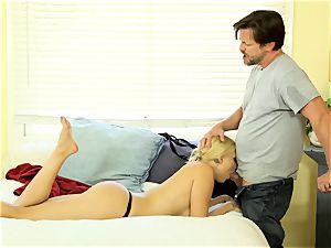 ash-blonde cutie Vanessa box humped in her jiggly minge