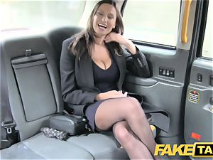 fake cab hot big-boobed honey gets massive jism shot