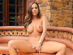 wondrous Abigail Mac bare and tugging all alone