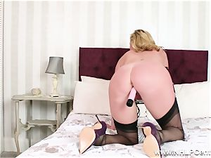 crazy cougar playthings humid beaver in nylons high high-heeled shoes garters