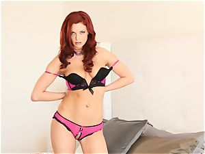 red-haired Jayden Cole takes off her undergarments and frigs her fuckhole