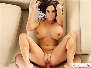 busty nymph Ava Addams with big curvy fun bags takes her hubby hard's shaft