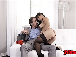 big-titted chinese milf tucked and facialized