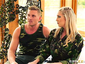 Army babes Lexi Lowe and Stella Cox get a dual helping of beef whistle