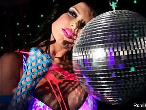 Romi plays w disco ball then wedges playthings in her cooter
