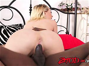 Kagney Linn Karter takes a giant ebony manstick