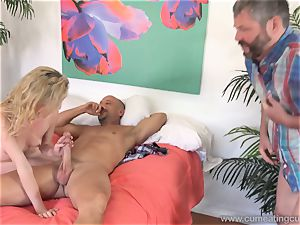 Angel Smalls Has Her hubby gobble cum Off Her