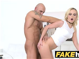 doll Agent Bodybuilder shoots his load over her face