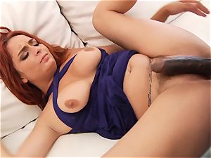 ginger-haired Ashley Graham bootie plumbed by a ginormous black man rod