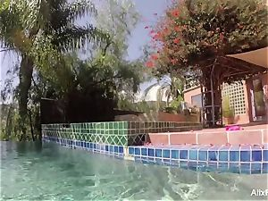 huge-chested blondes Alix and Cherie go skinny dipping