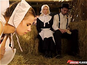 Amish chick gets bred in a barn
